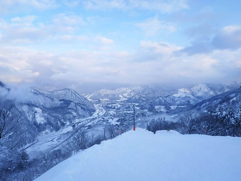 The view as you start the downhill course back to the base at GALA Yuzawa
