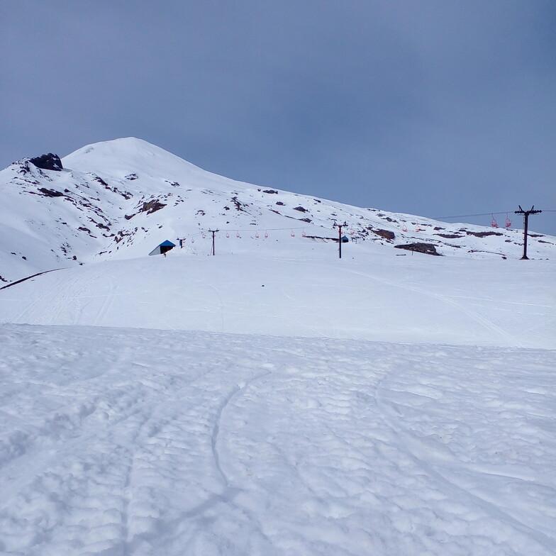 Vista desde cafeteria hacia volcan villarrica, Villarrica-Pucon