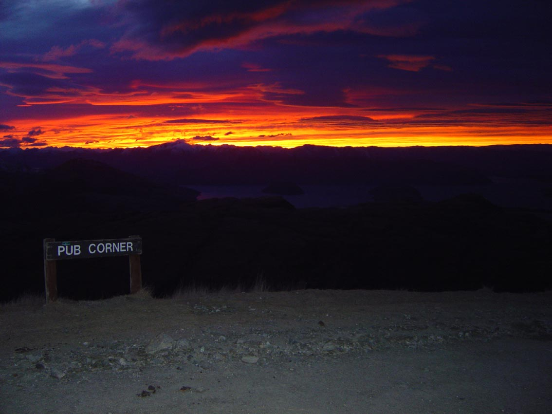 Treble Cone NZ - Sunrise over Lake Wanaka from Pub Corner August 2003