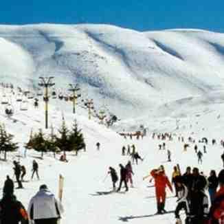 Busy skiing day at faraya,lebanon, Mzaar Ski Resort