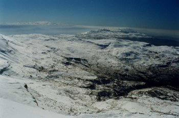 The Bekaa Valley, with Mount Hermon distinctly visible in the distance .(lebanon)