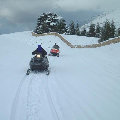 Snowmobiling in the cedars,lebanon