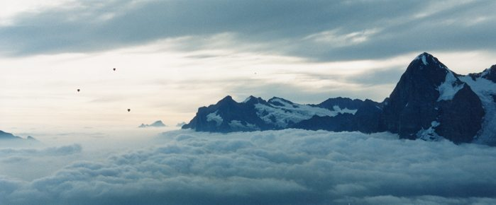 Hot air balloons over Eiger, Mürren