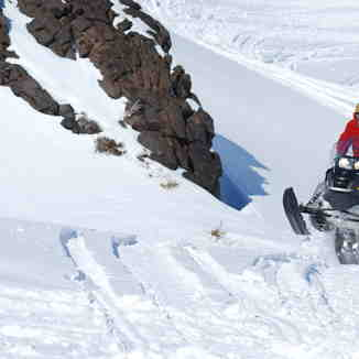 Snowmobile riding, Nevados de Chillan