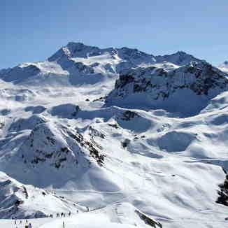 La Roche de Mio (2739m) et le Glacier de Bellecôte (3250m), La Plagne