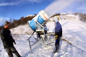 Snow making in Oppdal, Norway photo