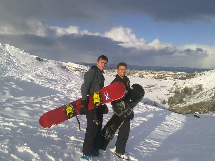 Snowboarding in the Pentland Hills, UK, Yad Moss