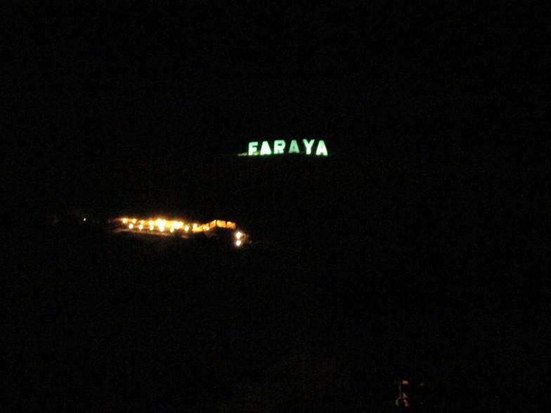 FARAYASign at night, Mzaar Ski Resort