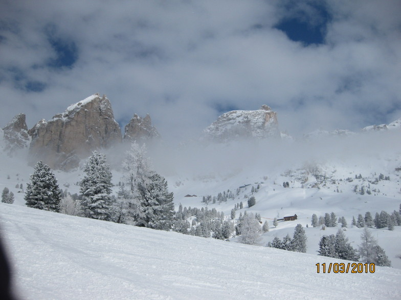 Powder Snow in the Dolomites in March, Canazei