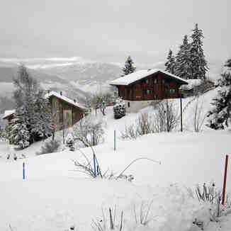 Anzère under a fresh blanket of snow.