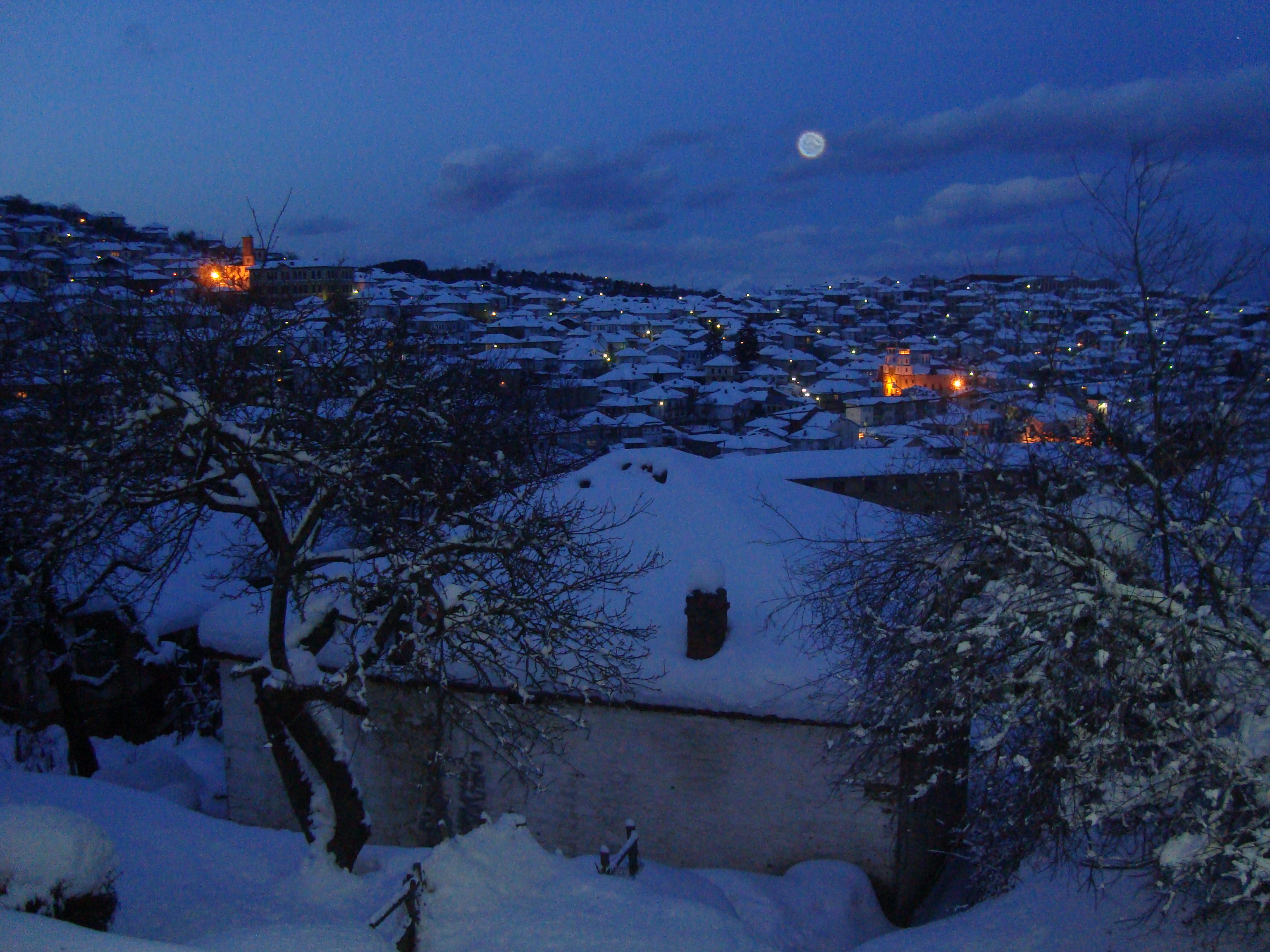 Night wiew to the baeautiful small town, Krushevo