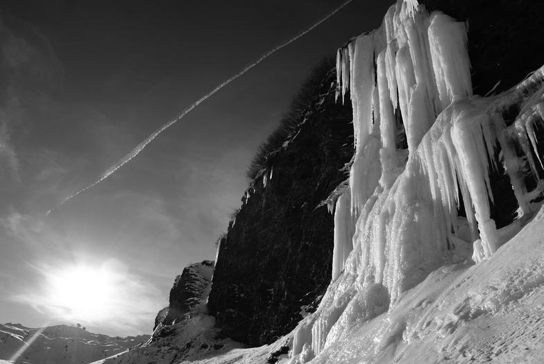 Ice waterfall in Avoriaz