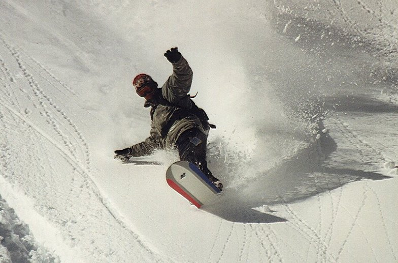 """Brent poaching Yoda Bowl (before it was """"in bounds""""), Mt Hood Meadows"""