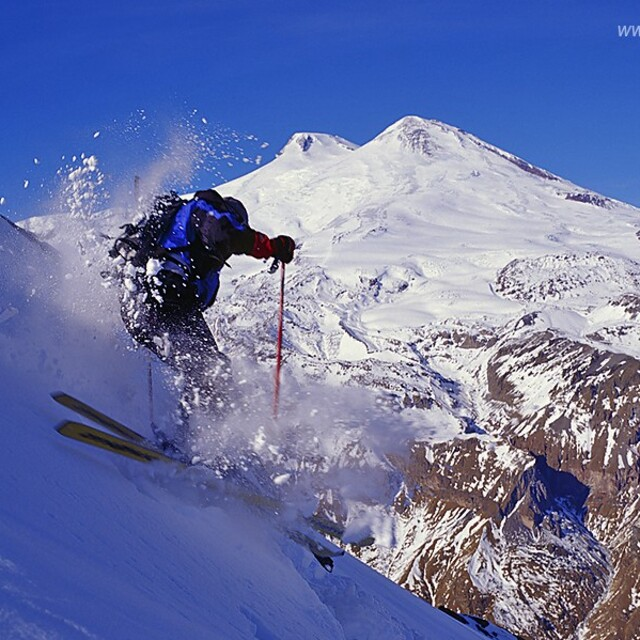 Free-ride in Cheget with Mt. Elbrus view, Mount Cheget