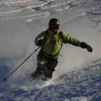 Haakon in knee deep powder on Diretissima, Davos