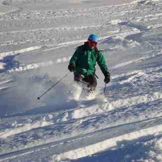 Aaron in deep powder on Parsenn, Davos