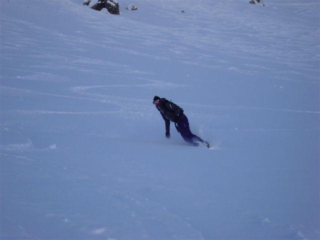 Tiziana riding Parsenn powder, Davos