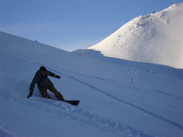 Brett riding Parsenn powder, Davos