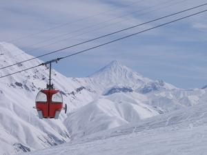 Dizin , panorama view of  Damawand , 5671 m  photo