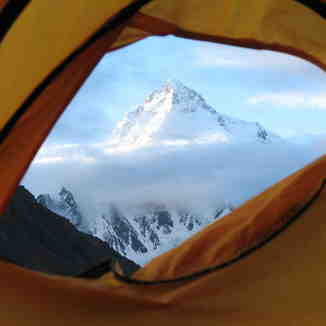 K2 from my tent at Concordia Pakistan, Broad Peak