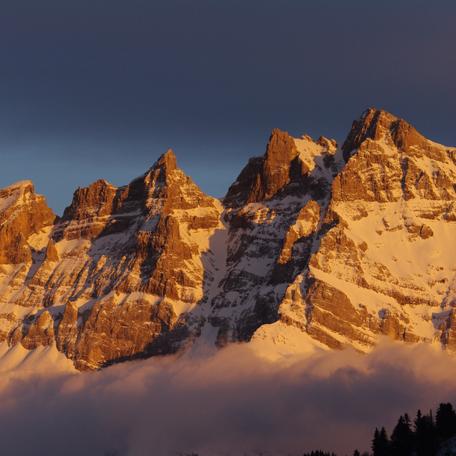 Dents du Midi from Les Crosets at sunset, Champéry