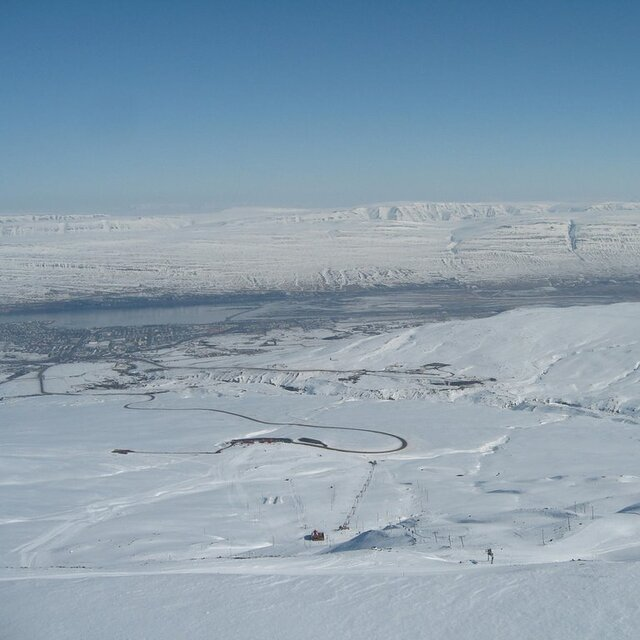 On the top of Akureyri ski area, Hlíðarfjall Akureyri
