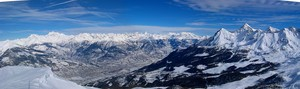 Panoramic view of Pila area and Aosta Valley photo
