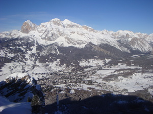 Tofana and town from Faloria, Cortina photo
