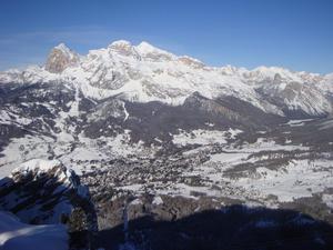 Tofana and town from Faloria, Cortina photo