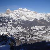 Tofana and town from Faloria, Cortina
