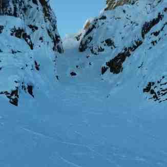 Big chute skiing at Kicking Horse