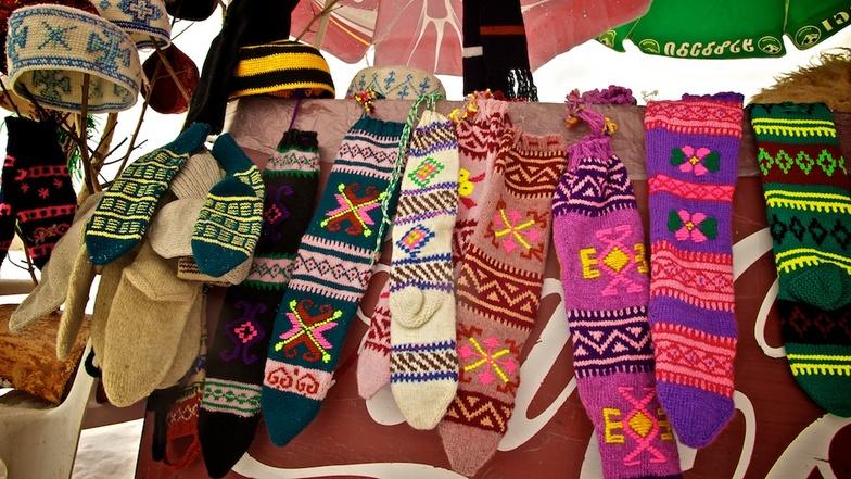 Hand-knitted socks, Gudauri