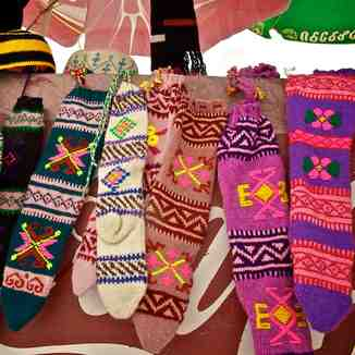 Hand-knitted socks, Gudauri