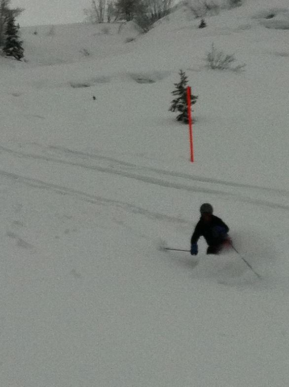 Nick Shannahan in light powder above Schiefa, Davos