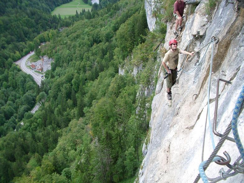 Robert climbing the Via Ferrata at samoens