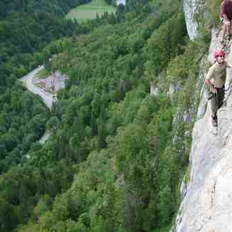 Robert climbing the Via Ferrata at samoens