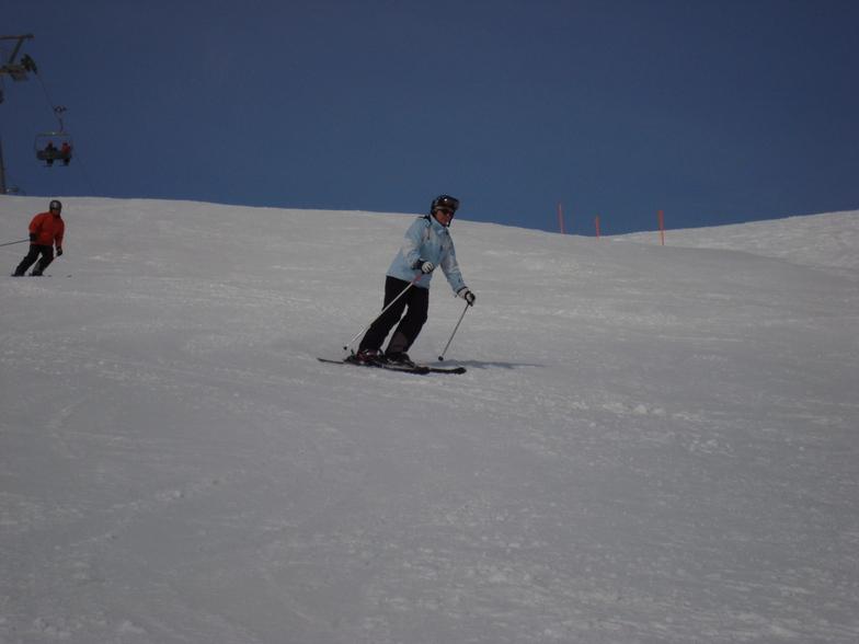 Tiny skiing spring snow on Todalp, Davos