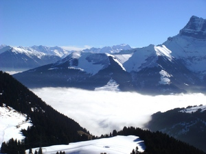 Blue morning mist in paradise, Chatel photo