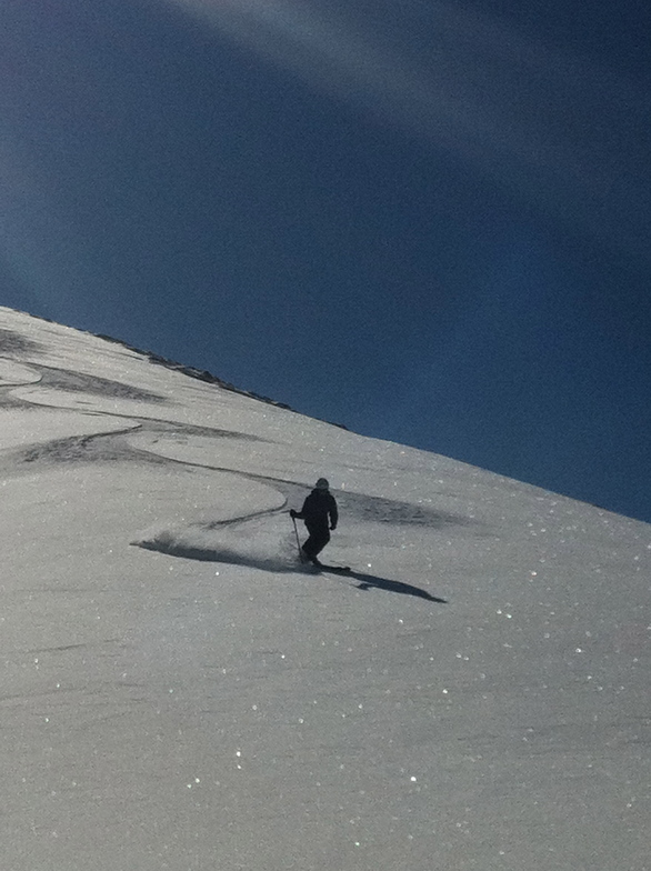 Annalis skiing Corn snow on Balentines, Davos