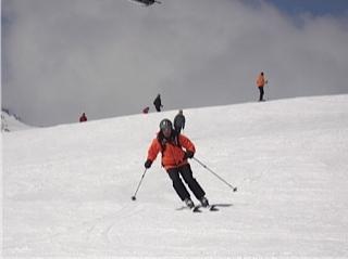 Tony skiing corn snow on Parsenn Furka, Davos