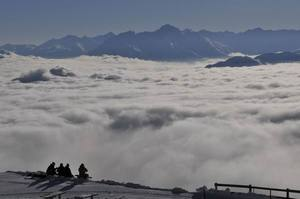 mountain chilling in Laax, Flims Laax Falera photo