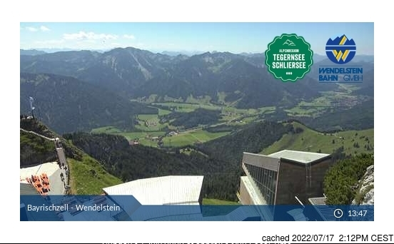 Bayrischzell-Brannenburg/Wendelstein webcam at lunchtime today