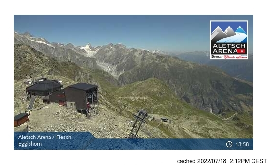Fiesch - Eggishorn - Aletsch webcam all'ora di pranzo di oggi