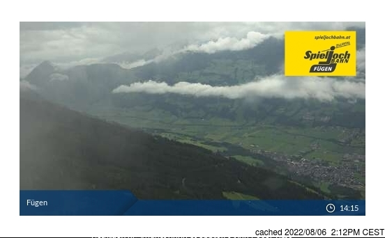 Fügen/Spieljoch webcam at lunchtime today