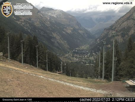 Gressoney-Saint-Jean webcam hoje à hora de almoço