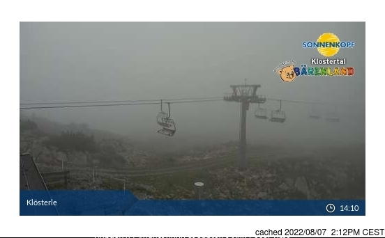 Klösterle/Sonnenkopf webcam at lunchtime today