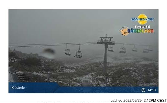 Bugün akşam yemeğinde Klösterle/Sonnenkopf'deki webcam