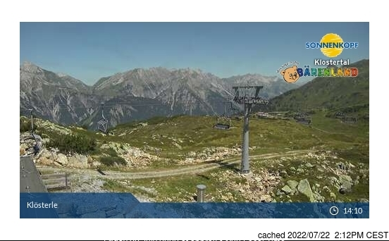 Klösterle/Sonnenkopf webcam at 2pm yesterday