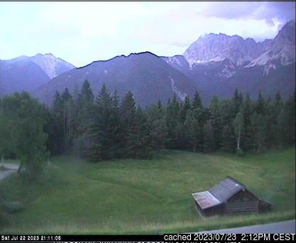 Mittenwald/Kranzberg webkamera ze včerejška ve 14 hod.