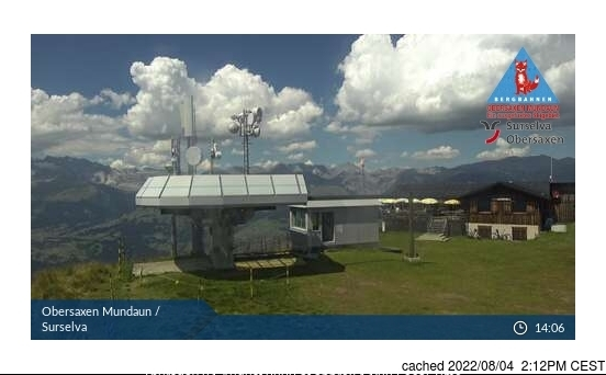 Obersaxen - Mundaun - Val Lumnezia webcam at lunchtime today